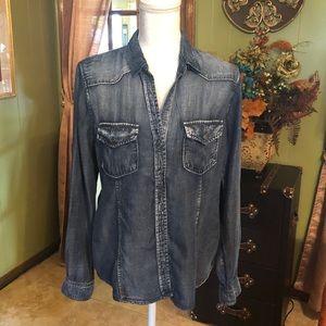 Cloth & Stone Denim Button Down Shirt M